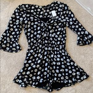 Abercrombie black and white floral romper
